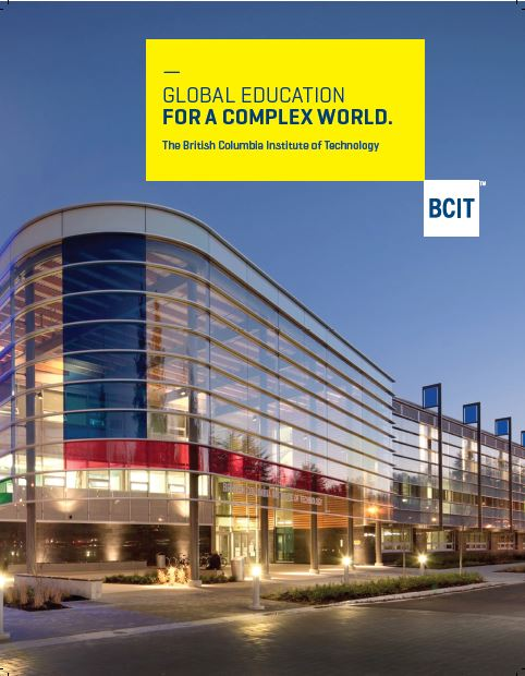Cover of International at BCIT brochue, depicting the Gateway building lit up at night at BCIT's Burnaby campus