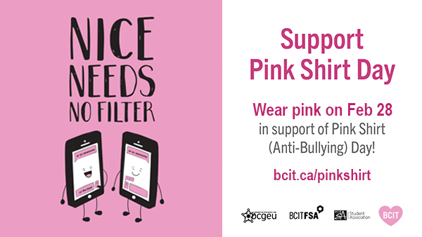 BCIT : : Harassment & Discrimination : : Pink Shirt Day at BCIT