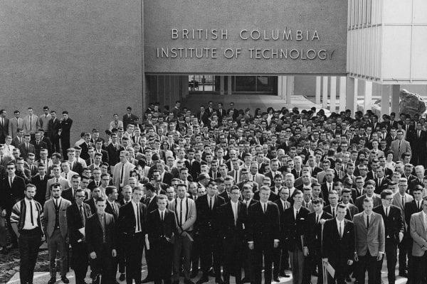 Historical photo of BCIT's first graduating class of 1964.