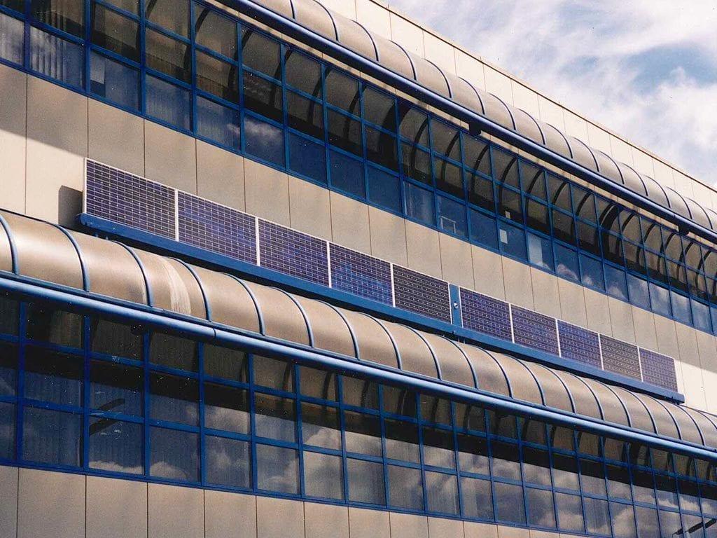 Photovotaic panels on building facade
