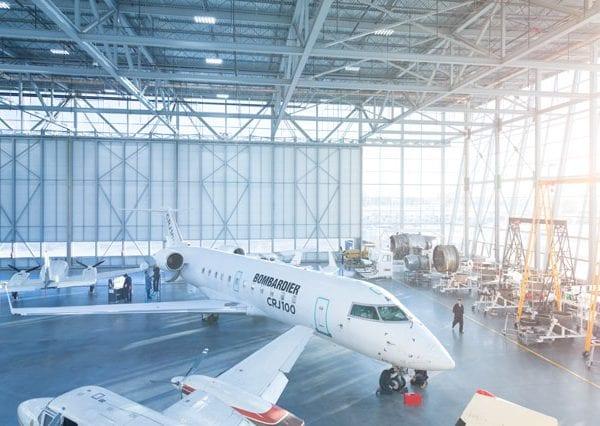 Aerospace hangar with 3 aircraft displayed.