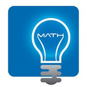 "Icon of lightbulb with the word ""Math"" inside white on blue background."