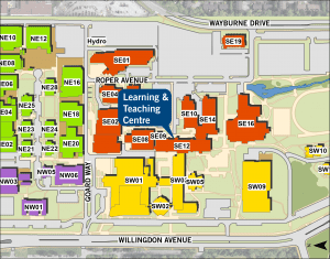 BCIT map of the Burnaby campus.