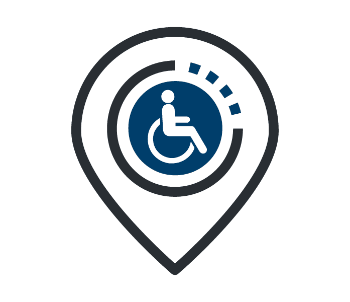 Wheelchair accessible parking logo.