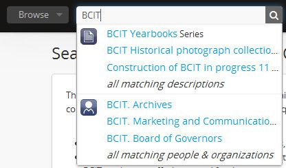 screenshot of BCIT archives page - history