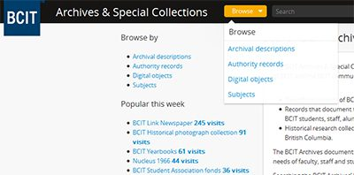 Screen shot of BCIT Archives & Special Collections page