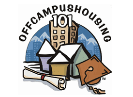 Off campus logo that has a picture of a tall building, three small houses, a rolled-up diploma and a graduation cap.