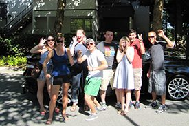 Photo of a group of eight students who are resident life assistants.