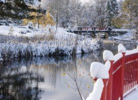 Phot of snow covered ground, lake and snow covered red fence.
