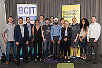Photo of thirteen 2019 winners in the enrepreneurship & applied research categories.