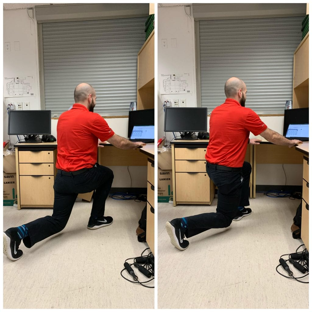 man doing reverse lunges