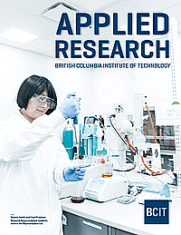 Applied research brochure with a person working in a lab.