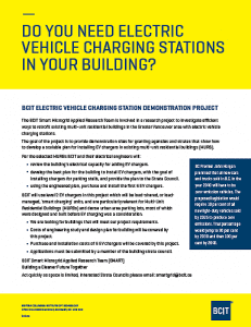 Image of information regarding the bcit electric vehicle charging station demo project.