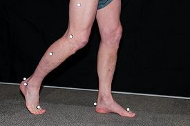 Person's legs being measured with dots in the motion capture lab.