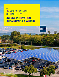 Image of microgrid technology panels at bcit with the bcit logo and a yellow box with smart microgrid technology and energy innovation for a complex world in blue text inside it.