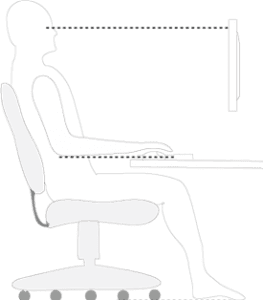 Diagram of a person seated at a workstation with guidance lines for an ergonomic setup...