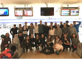 Group of students at a bowling alley.