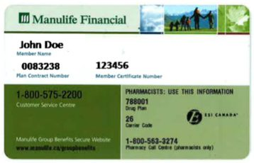 example of a Manulife card.