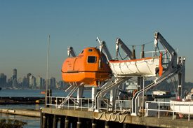 life boat on hanger.