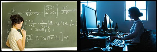 Woman standing in front of a chalkboard with equations, and another woman seated at a computer.
