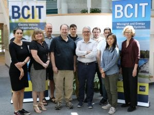 Group of people posing in front of BCIT banners