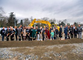Photo of school of health sciences ground breaking.
