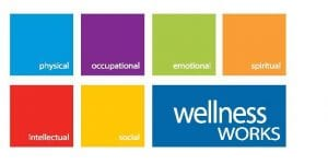 7 multi coloured squares with info on wellness on each square.