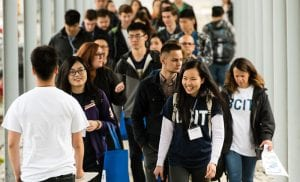 BCIT students walking on campus.