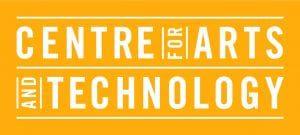 Logo for Centre of Arts & Technology white on orange background.