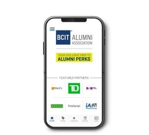 This is a picture of a phone with Alumni Perks App interface.