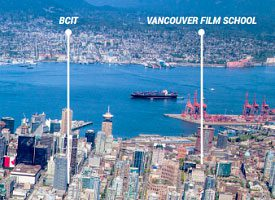 aerial view of downtown Vancouver pinning location of Vancouver film school and BCIT campus