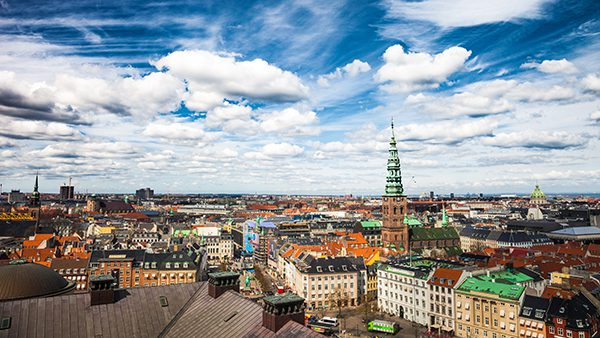 Copenhagen (city scape), Denmark during a beautiful sunny spring day.