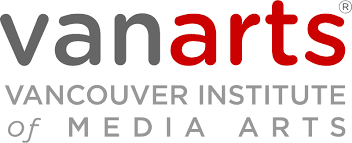 VanArts logo grey and red font on white background.