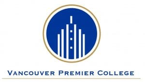 logo Vancouver Premier College white hotel on blue background