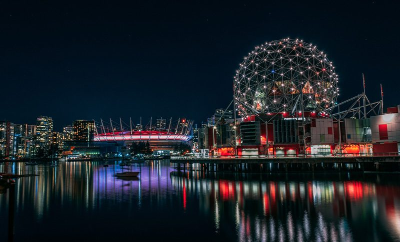 Vancouver cityscape at night.
