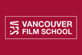Vancouver Film School Logo white text on red background.