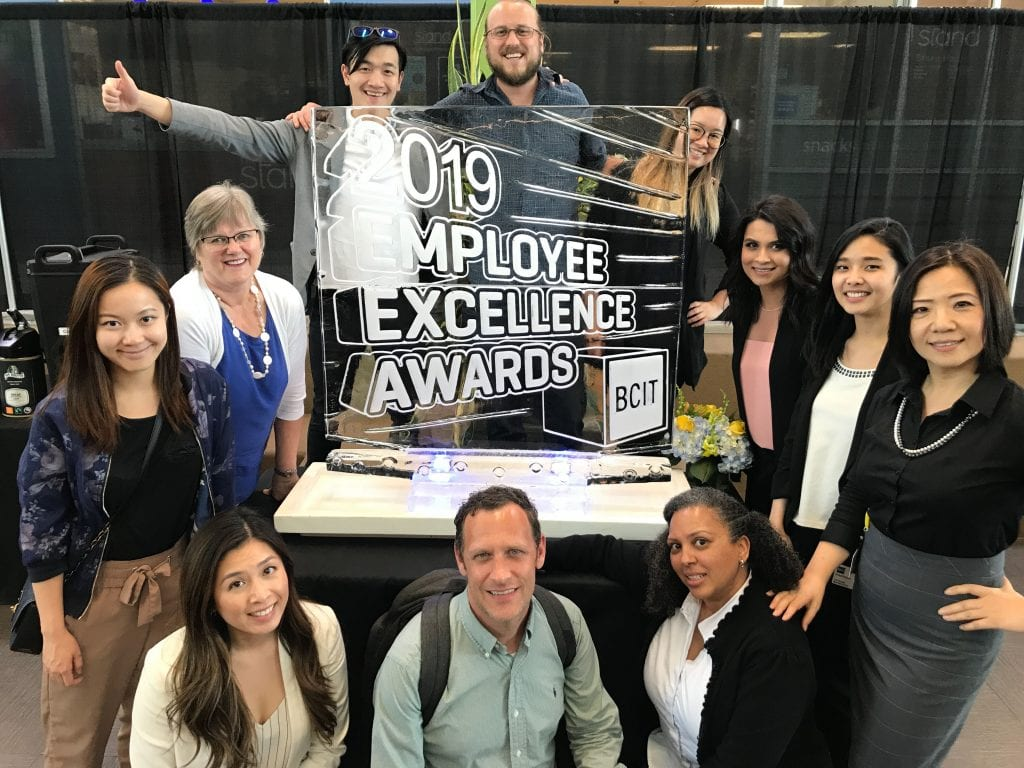 International Student Centre staff receiving a BCIT Outstanding Contribution award in 2019.