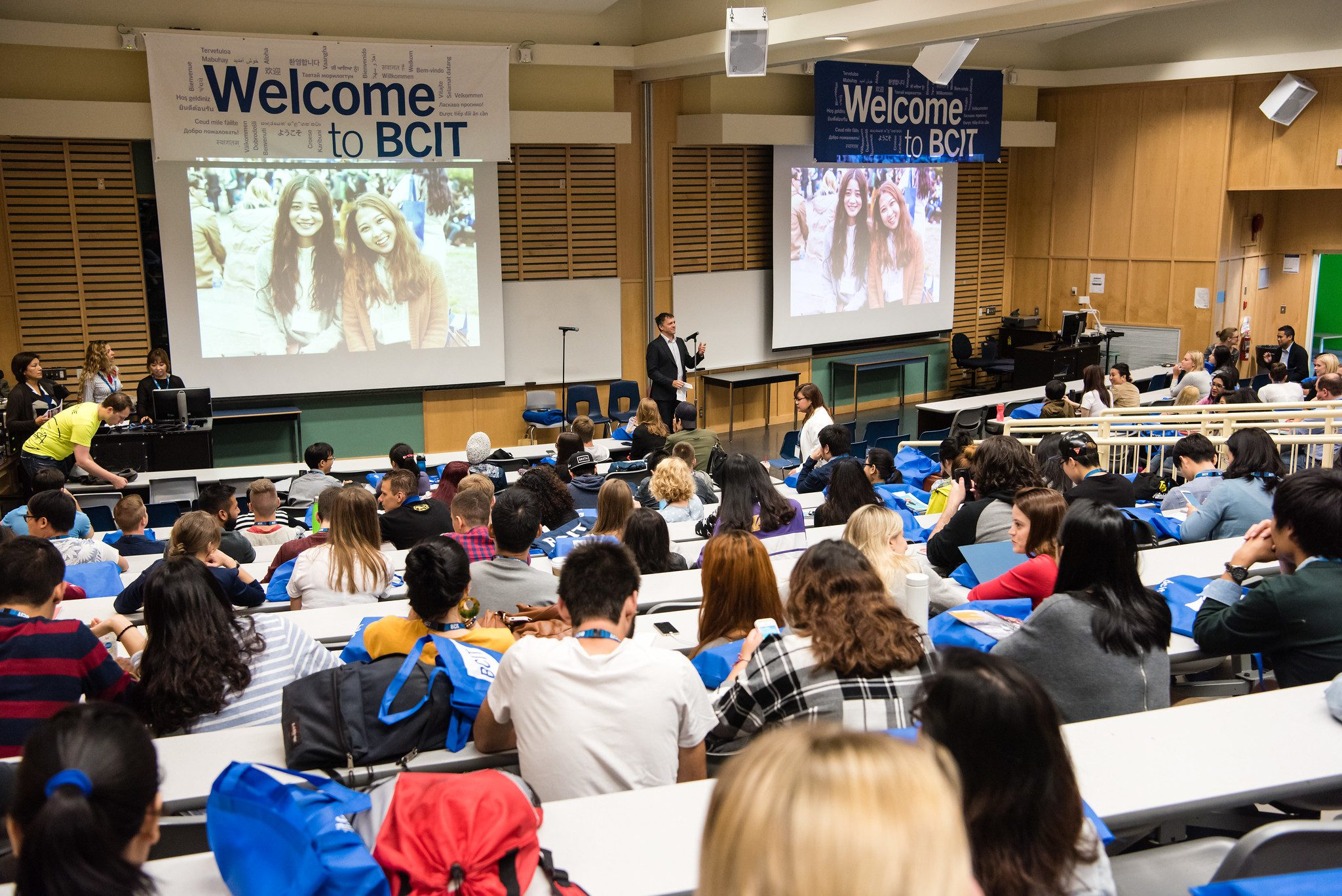 International Orientation event in lecture hall at BCIT