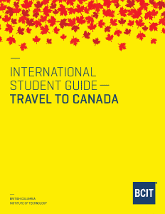 Cover of the BCIT International Student Guide - Travel to Canada