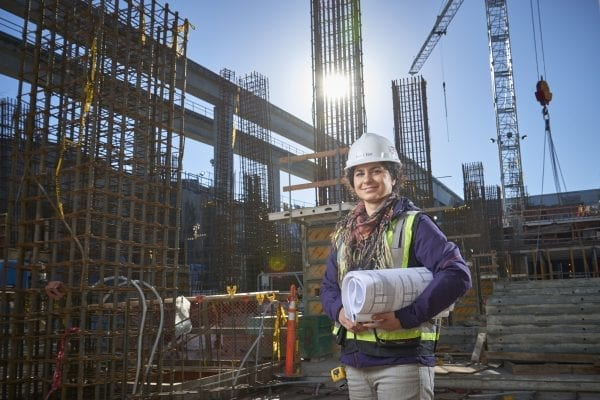 woman in construction site