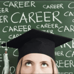 """girl wearing graduation cap in front of a chalkboard with the word """"career"""" written all over it"""