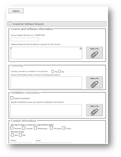Screenshot of the digital form to request software.