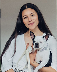 Brunette woman and dog