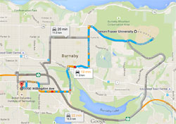 Map of routes between BCIT and SFU