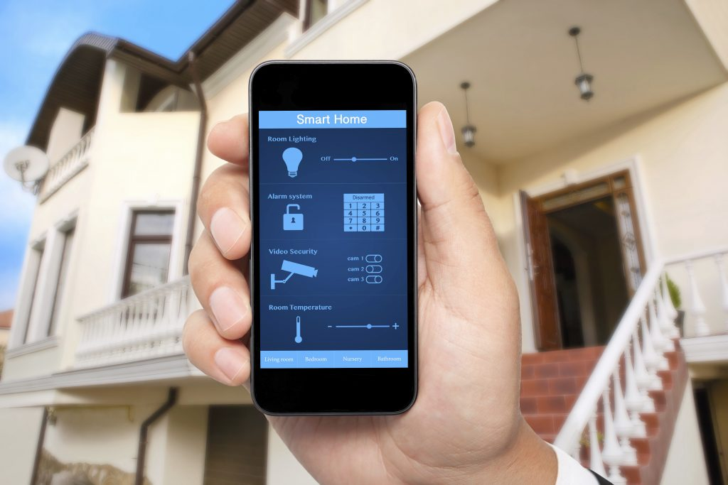 A cell phone with smart home app