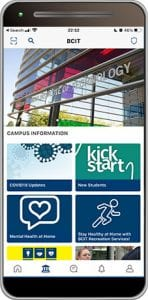 my BICT mobile app campus screen
