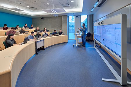 Classroom from the Downtown campus, were and instructor can me seen teaching a class