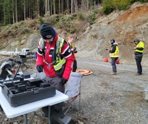 Four men in yellow vests setting up a drone on the road in a forested area