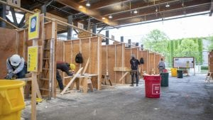 Students at work in a carpentry lab on campus.
