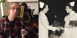 Side by side photos. Photo on left features David Thomas (memorial award in his name). Photo on right features black and white image of nurse Jillion A. Diespecker receiving her nursing degree (award named in her hounour).